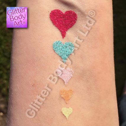 row of hearts temporary tattoo stencil for glitter tattoo