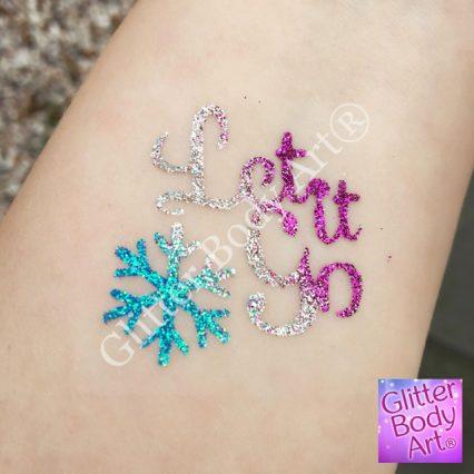 let it go temporary tattoo stencil, Frozen glitter tattoos for girls