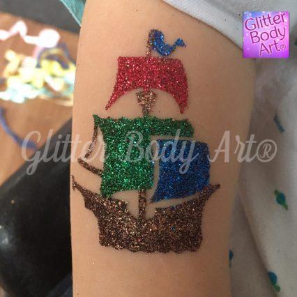 pirate ship temporary tattoo stencil, pirate party glitter tattoos