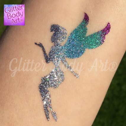 fairy temporary tattoo stencil for sparkly glitter tattoo, girls fairy party