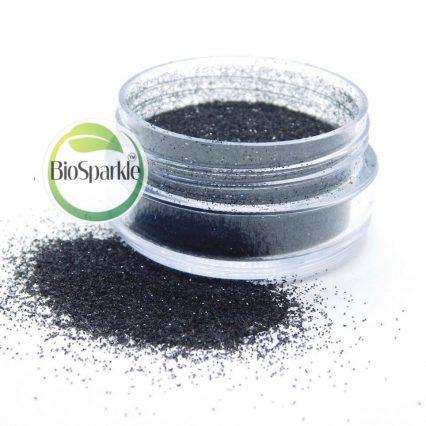 black bio degradable loose glitter in jar, eco friendly glitter