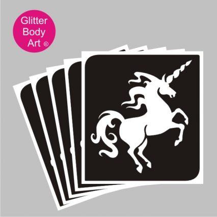 beautiful uncorn raising up on back legs, unicorn temporary tattoos for kids stencil