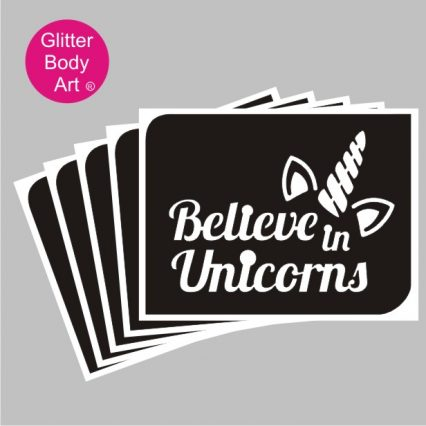 Believe in unciorns wordart with unicorn temporary tattoo stenicl