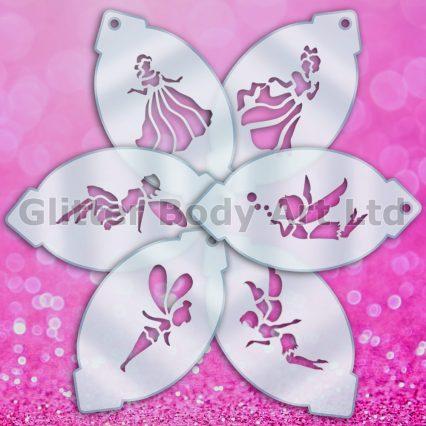 princess facepainting stencils, fairies stencils for face paint