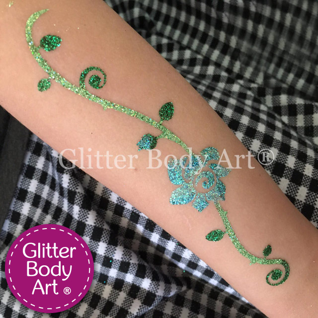 large floral temporary tattoo design for an arm or lower back, glitter tattoo flowers