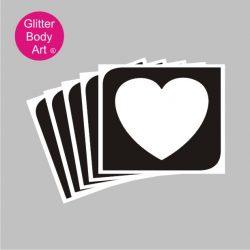 large single heart glitter tattoo stencil