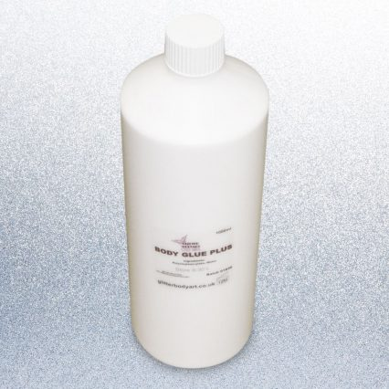 Refill 1 Litre container of white body glue, glitter skin glue adhesive for glitter tattoos, gems and prosthetics