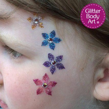 flower temporary tattoo, flower stencil for glitter tattoos