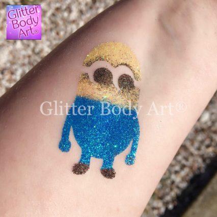 Minion temporary tattoo stencil, boys glitter tattoos