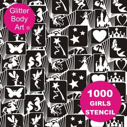 1000 temporary tattoos for girls, glitter tattoo stencils for birthday parties