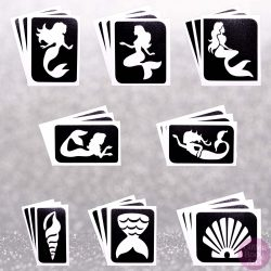 24 pack of mermaids temporary tattoo stencils