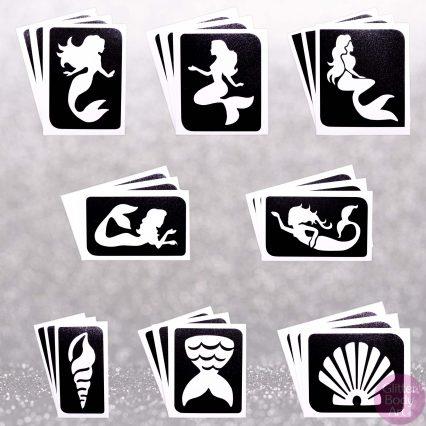 24 pack of mermaids temporary tattoo stencils