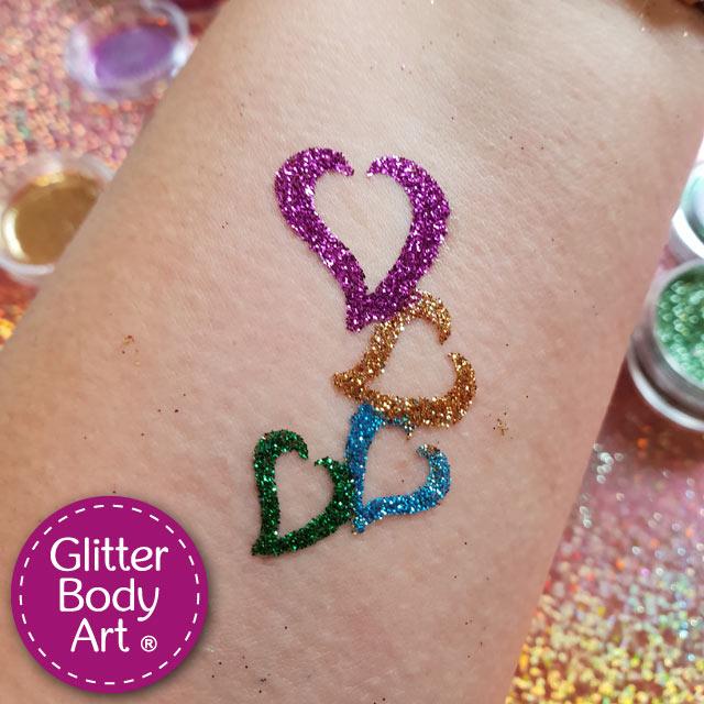 hearts glitter tattoo, heart temporary tattoo for kids