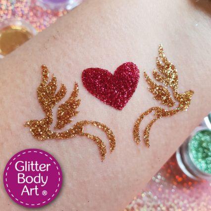 heart temporary tattoo with love doves, heart glitter tattoo