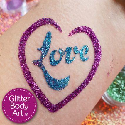 Love heart temporary tattoo stencil for love glitter tattoos