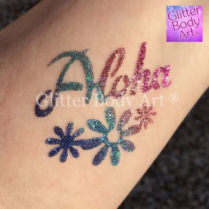 aloha hawaiiain temporary tattoo stencil