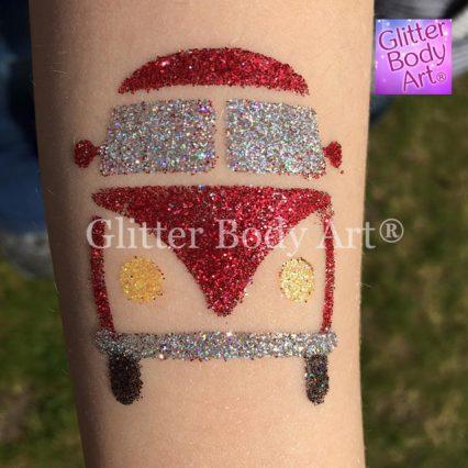 VW campervan temporary tattoo stencil, VW Fest glitter tattoos