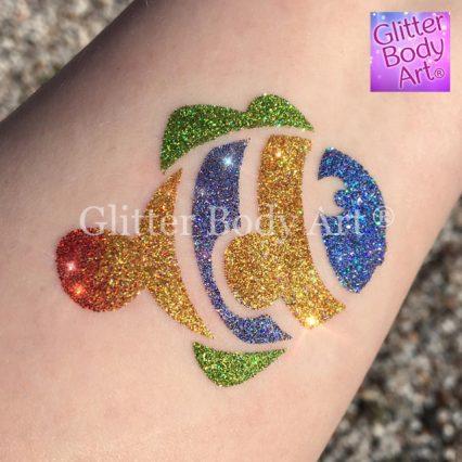 Clown fish temporary tattoo stencil, Finding Nemo glitter tattoo