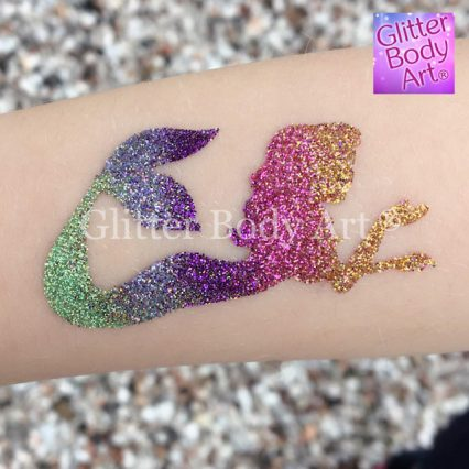 mermaid glitter tattoo stencil, temporary tattoos for kids, under the sea party