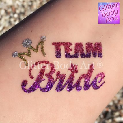 Team Bride temporary tattoo stencil for hen party glitter tattoos