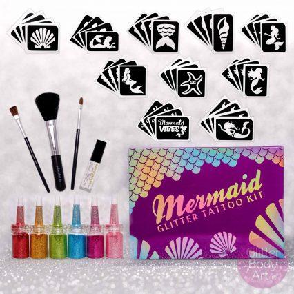 mermaid glitter tattoo kit, mermaid tattoo stencil set