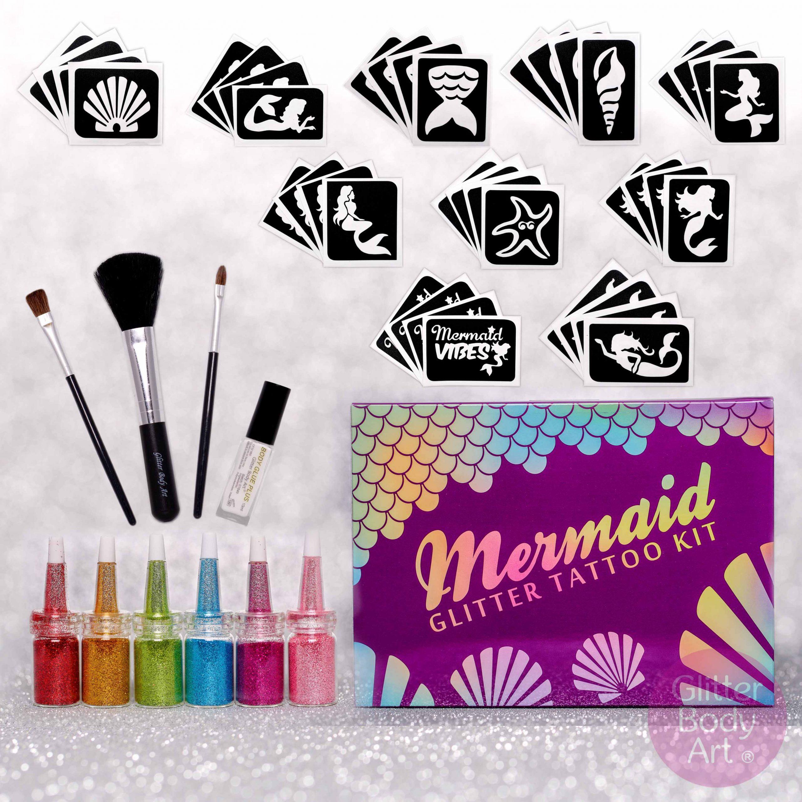 Mermaid Glitter Tattoo Kit Temporary Tattoo Store