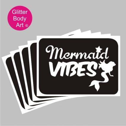 mermaid vibes word art with cute mini mermaid temporary tattoo stencil