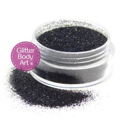 black face & body glitter for cosmetic application of makeup and glitter tattoos, loose glitter in a jar