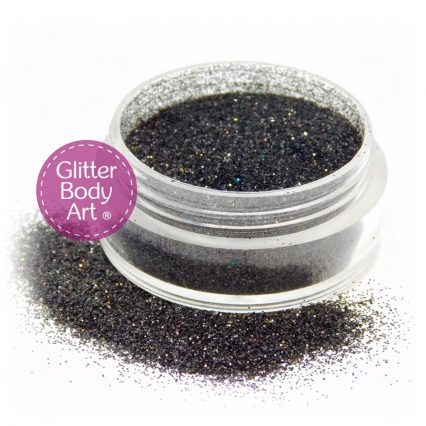 holographic black face and body glitter makeup