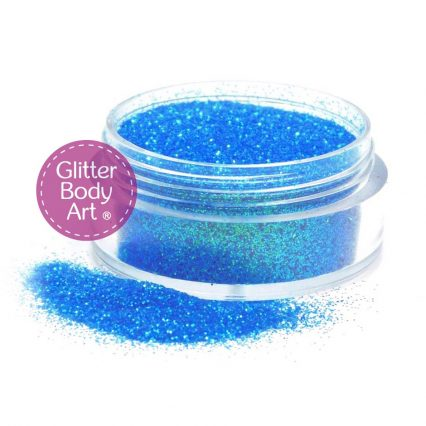 Bright blue face and body glitter makeup for glitter tattoos