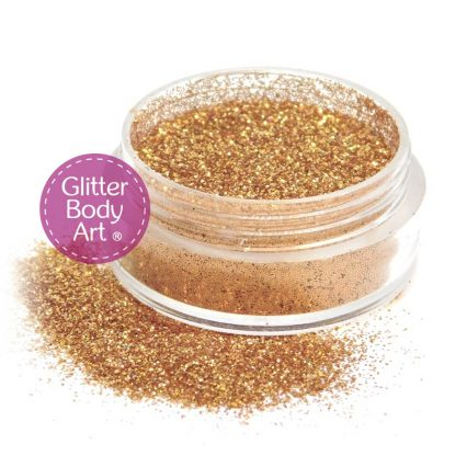 orange face and body glitter makeup