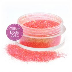 candy sparkle orange face & body glitter makeup jar of loose orange glitter for cosmetic applications