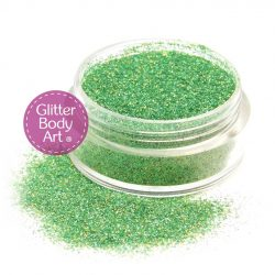 holographic green face and body glitter makeup, cosmetic glitter