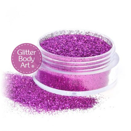fuchsia pink face & body glitter jar of loose glitter for makeup and glitter tattoo applications.
