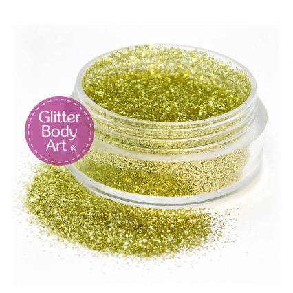 Gold face & body glitter jar of loose glitter for applications of makeup and glitter tattoos
