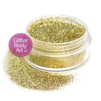 gold dazzle - holographic gold face & body glitter jar of loose glitter for makeup and glitter tattoos