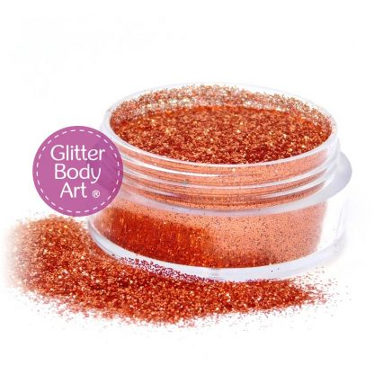 golden orange face & body glitter jar of loose glitter for use in makeup and glitter tattoos