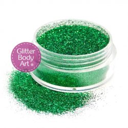 grass green face & body glitter jar of loose green cosmetic glitter for makeup and glitter tattoos