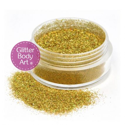 holographic gold cosmetic glitter for face and body