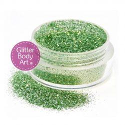 light green face & body glitter jar of loose glitter for makeup and glitter tattoos