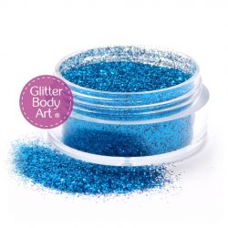 Ocean blue face and body glitter for makeup and glitter tattoos