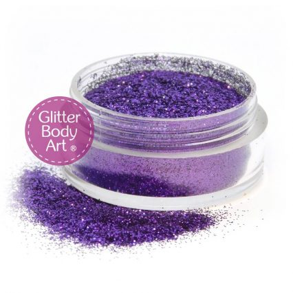 purple face and body glitter makeup