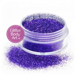 puprle face and body glitter jar of loose glitter for makeup and glitter tattoos
