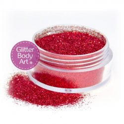 Five gram jar of red cosmetically approved glitter