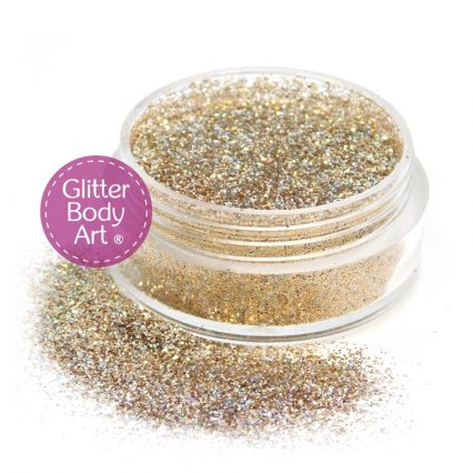 reindeer gold face and glitter makeup jar of loose gold cosmetic glitter