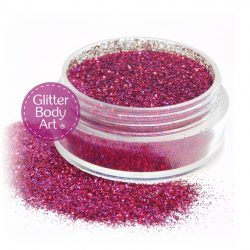 Rose pink face and body glitter jar of loose cosmetic pink glitter