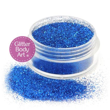 Royal blue face and body glitter makeup jar of loose blue glitter