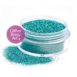 green face and body glitter makeup jar of loose glitter for makeup and glitter tattoos