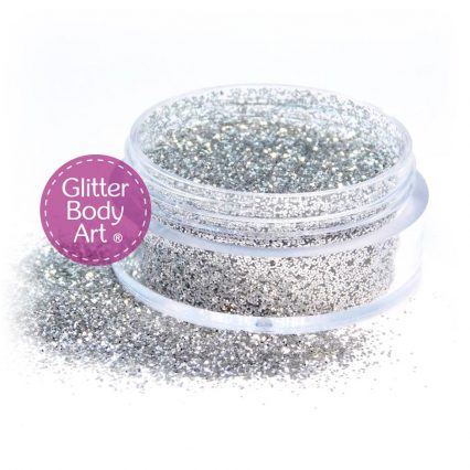 Silver face and body glitter makeup jar of silver cosmetic glitter
