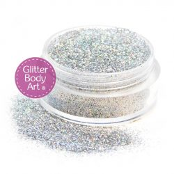 sparkly silver face and body glitter makeup jar of loose silver sparkle glitter